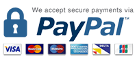 Pay via Mastercard, Visa, American Express or even Paypal